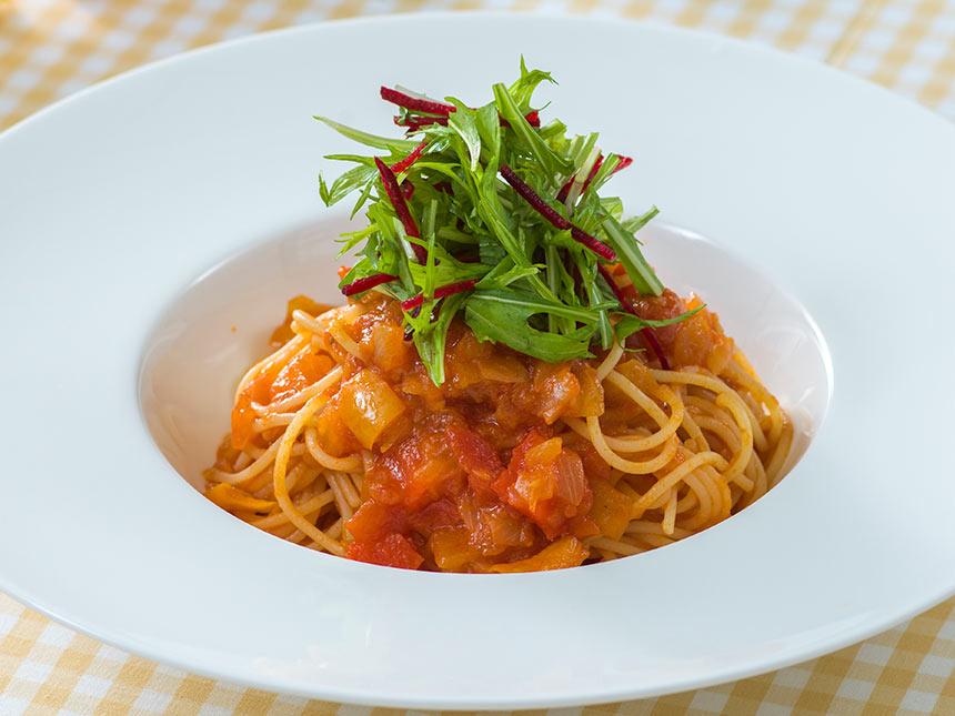 スパゲッティーニ、野菜のソースの画像